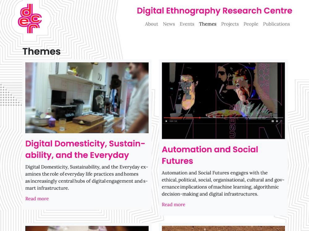DERC website themes page desktop screen image